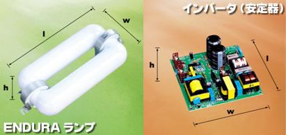 写真:ENDURAランプとインバータ(安定器)